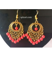 5b697bc88 ANTIQUE CHANDBALI WITH RED HANGINGS ONE PAIR