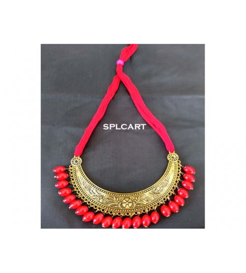 Splcart Cotton Dori With Antique Curve pendant (Red)