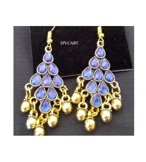 ANTIQUE DIAMOND SHAPE EARRINGS WITH BLUE STONES AND GUNGROO