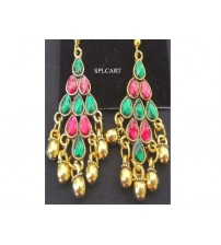 ANTIQUE DIAMOND SHAPE EARRINGS WITH MULTICOLOR STONES AND GUNGROO
