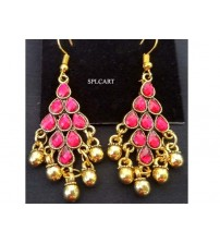 ANTIQUE DIAMOND SHAPE EARRINGS WITH PINK STONES AND GUNGROO