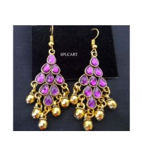 ANTIQUE DIAMOND SHAPE EARRINGS WITH PURPLE STONES AND GUNGROO