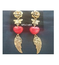 ANTIQUE EARRINGS WITH RED HEART SHAPE GLASS BEADS HANGINGS