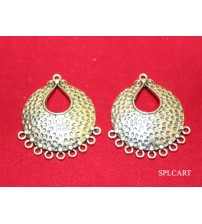 ANTIQUE EMBOSED DOTS DESIGN CHANDBALI 4X3.5CMS ONE PAIR