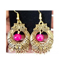 ANTIQUE MANGO DESIGN CHANDBALI WITH PINK BEAD ONE PAIR