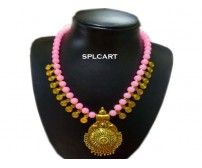 Splcart Glass Beads With Antique Pendant Neckset (BabyPink)