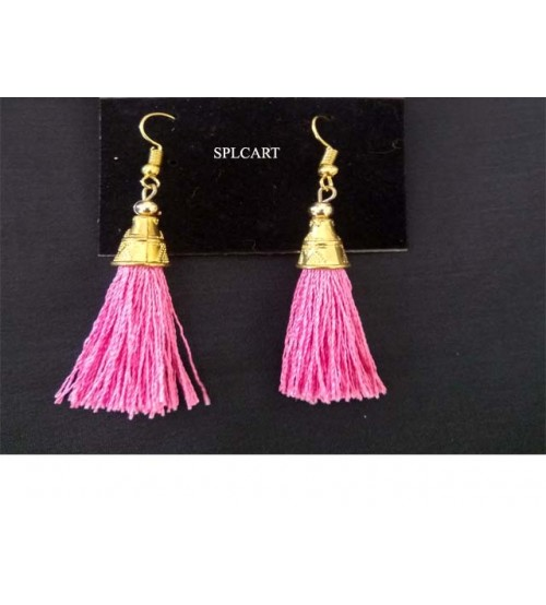 BABY PINK TASSEL EARRINGS ONE PAIR