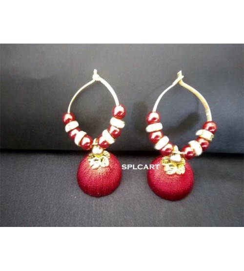 BALI RING SILK THREAD JUMKAS MAROON ONE PAIR