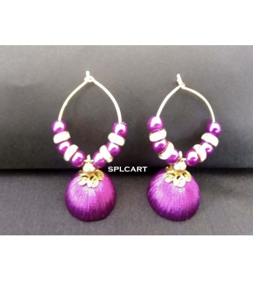 BALI RING SILK THREAD JUMKAS PURPLE ONE PAIR