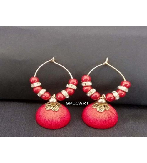 BALI RING SILK THREAD JUMKAS RED ONE PAIR
