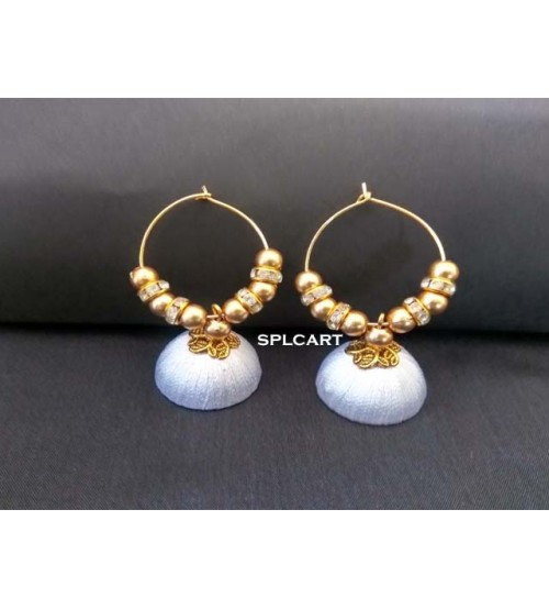 BALI RING SILK THREAD JUMKAS WHITE ONE PAIR