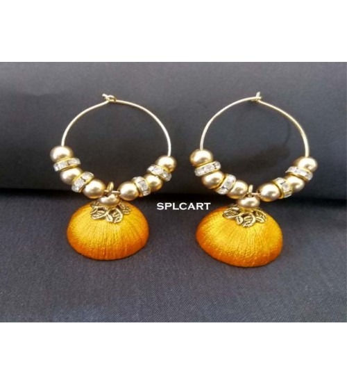 BALI RING SILK THREAD JUMKAS YELLOW ONE PAIR