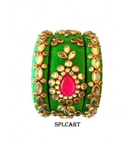 Splcart Silk Thread Bangles Set of 3 Bangles(Parrot Green)