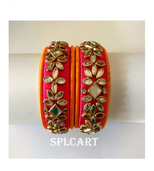 Splcart Silk Thread Bangles Set of 6 Bangles(Yellow And Pink))