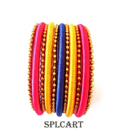 Splcart Silk Thread Bangles With Metal Bangles Set of 11 Bangles(Multicolor)