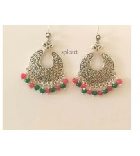 CHANDBALI WITH RED AND GREEN EARRINGS ONE PAIR