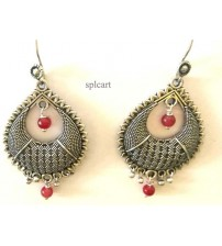 CHANDBALI WITH RED HANGINGS ONE PAIR