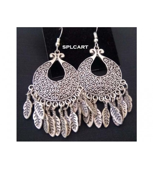 CHANDBALI WITH SILVER LEAF CHARMS HANGINGS