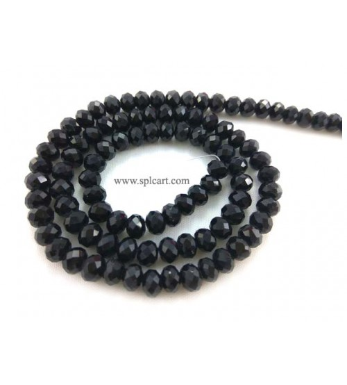 Splcart Rondelle tyre Crystal Beads Choose Sizes (Black)