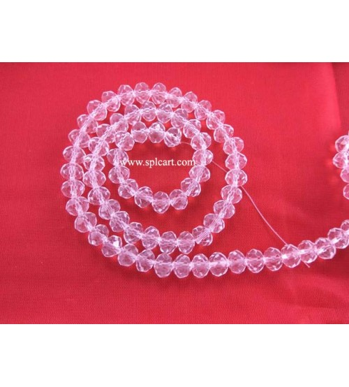 Splcart Rondelle Tyre Crystal Beads Choose Sizes (white)