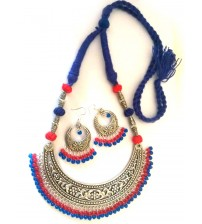 CURVED SILVER PENDANT WITH RED AND BLUE HANGINGS SET