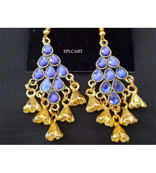DIAMOND SHAPE BLUE STONE EARRINGS WITH HANGINGS