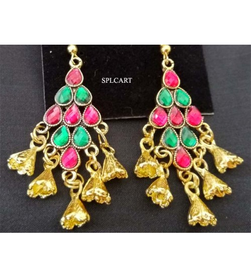DIAMOND SHAPE MULTICOLOR STONE EARRINGS WITH HANGINGS