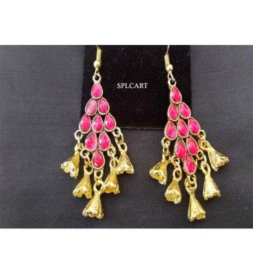 DIAMOND SHAPE PINK STONE EARRINGS WITH GOLD HANGINGS