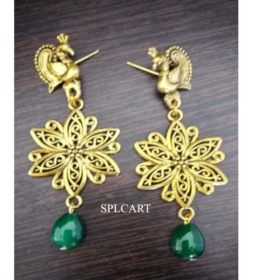 Splcart Antique Flower With Drop Shape Glass Bead (Green)