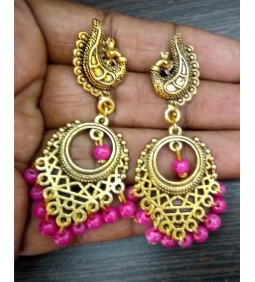 Splcart Antique Peacock Studs With Chandbali (Pink)