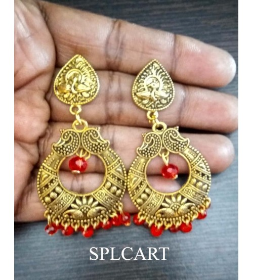 Splcart Antique Peacock Studs With Mango Design Chandbali (Red)