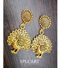 Splcart Antique Round Studs With Peacock Hangings