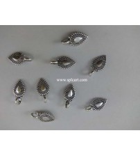 GERMAN SILVER DROP SHAPE CHARMS 16X9MM