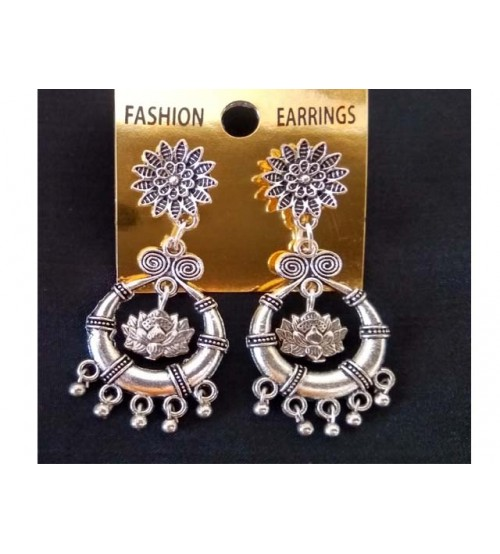 GERMAN SILVER FLOWER STUD WITH CHANDBALI