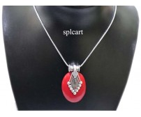 GERMAN SILVER NECKSET WITH EARRINGS RED COLOR
