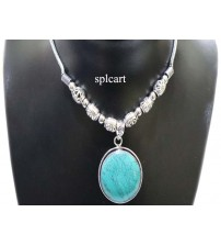 GERMAN SILVER NECKSET WITH SEA GREEN PENDANT