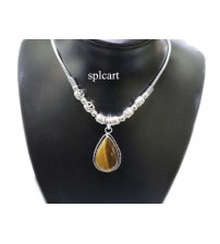 GERMAN SILVER NECKSET WITH WOOD COLOR PENDANT
