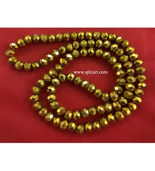 Splcart Golden Metalic Rondelle Faceted Crystal Beads