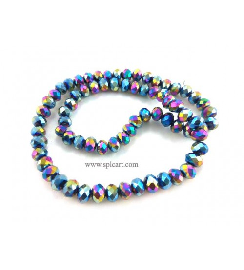 Splcart Rainbow Metalic Rondelle Faceted Crystal Beads