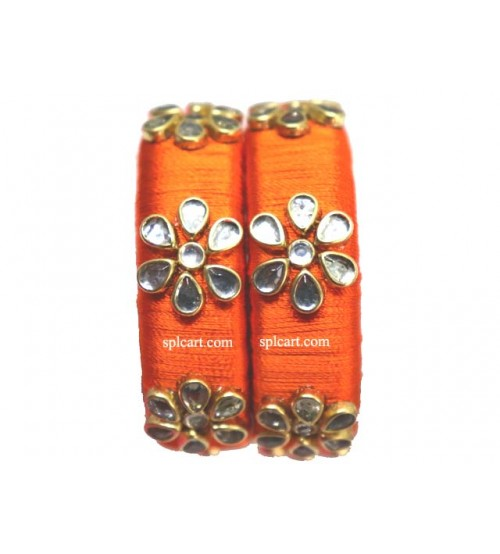ORANGE SILK THREAD SET OF 2 BANGLES WITH FLOWER DESIGN