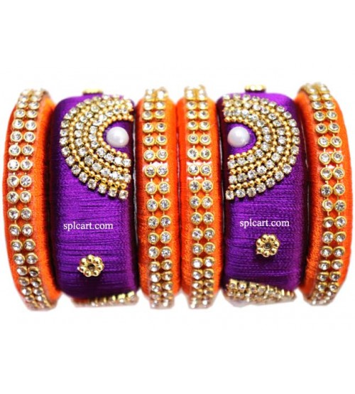 PURPLE AND ORANGE SILK THREAD SET OF 6 BANGLES