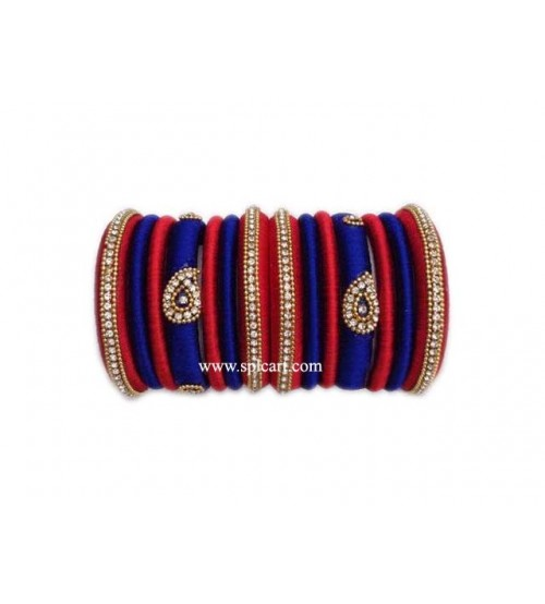 SILK THREAD BANGLES BLUE WITH RED