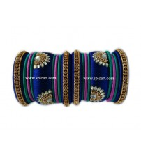 SILK THREAD BANGLES ROYALBLUE WITH PINK AND GREEN