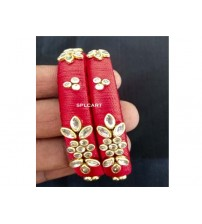 SILK THREAD BANGLES WITH STONES ONE PAIR SPL01