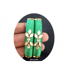 SILK THREAD BANGLES WITH STONES ONE PAIR SPL02