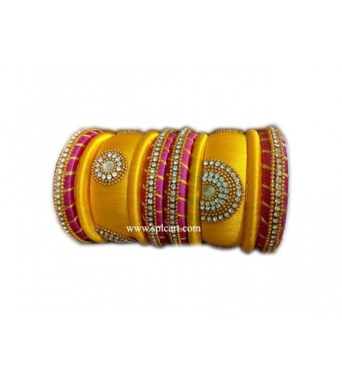 SILK THREAD BANGLES YELLOW AND PINK