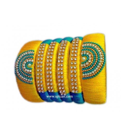 SILK THREAD BANGLES YELLOW WITH LIGHT BLUE
