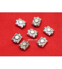 SILVER BEADS 8X6MM PACK OF 10 PIECES