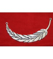GERMAN SILVER CURVED LEAF PENDANT