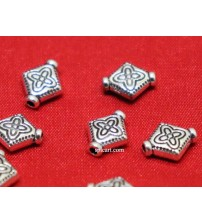 SILVER DIAMOND SHAPE BEADS 10X8MM PACK OF 10 PIECES